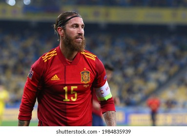 KYIV, UKRAINE - OCTOBER 13, 2020: Portrait of Spanish footballer Sergio Ramos seen during the UEFA Nations League game against Ukraine at NSK Olimpiyskiy stadium in Kyiv. Ukraine won 1-0