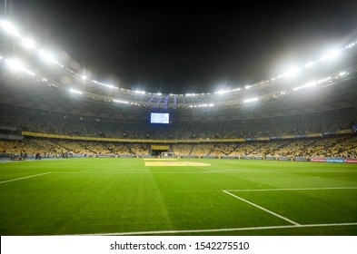 KYIV, UKRAINE - October 14, 2019: General view of the stadium and the view inside the bowl of the stadium during the UEFA EURO 2020 qualifying match between Ukraine against Portugal, Ukraine