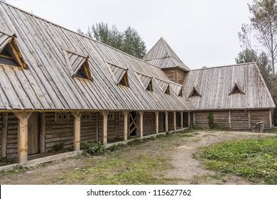 "KYIV, UKRAINE - OCTOBER 14: Open-air museum ""Mamajeva Sloboda"" - full replica of a historical Cossack settlement of the 17th - 18th century, at October 14, 2012 in Kyiv, Ukraine. Farm buildings."