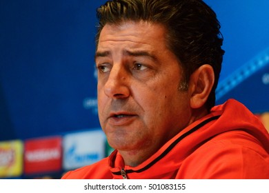KYIV, UKRAINE - OCTOBER 18, 2016: S.L. Benfica head coach Rui Vitoria speaks with journalists during a press conference at the Olimpiyskiy stadium in Kiev, Ukraine, 18 October 2016