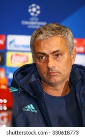 KYIV, UKRAINE - OCTOBER 19, 2015: FC Chelsea manager Jose Mourinho attends press-conference before UEFA Champions League game against FC Dynamo Kyiv at NSC Olimpiyskyi stadium