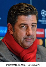 KYIV, UKRAINE - OCTOBER 19, 2016: S.L. Benfica head coach Rui Vitoria speaks with journalists during a press conference at the Olimpiyskiy stadium