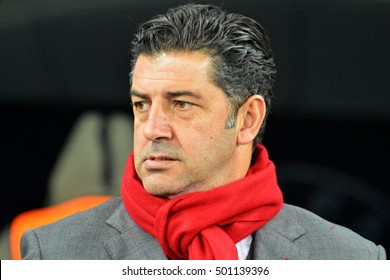 KYIV, UKRAINE - OCTOBER 19, 2016: Benfica head coach Rui Vitoria reacts during the UEFA Champions League group B soccer match between Dynamo Kyiv and Benfica Lisbon at the Olimpiyskiy stadium in Kiev