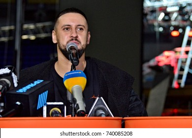 KYIV, UKRAINE - OCTOBER 19, 2017: Dmitriy Monatik demonstrated the scene at the Kiev Palace of Sports, before the recital of Vitamin D