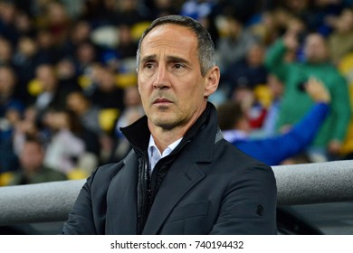 """KYIV, UKRAINE - OCTOBER 19, 2017:  BSC Young Boys head coach Adolf """"Adi"""" Hutter during the UEFA Europe League between Dynamo Kyiv and BSC Young Boys"""