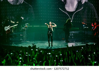 """KYIV, UKRAINE – OCTOBER 19, 2018: The performance of the rock group THE HARDKISS at the Sports Palace with the show """"The Iron Swallow"""" (Zalizna Lastivka). Soloist of the group Julia Sanina"""