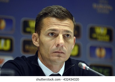 KYIV, UKRAINE - OCTOBER 2, 2014: Steaua manager Constantin Galca pictured after the UEFA Europa League game between Dynamo Kyiv and Steaua Bucharest on Olimpiyskiy Stadium.