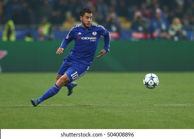 KYIV, UKRAINE - OCTOBER 20, 2015: Eden Hazard runs and dribbles with ball, UEFA Chamions League Group Stage match between Dynamo Kyiv and Chelsea