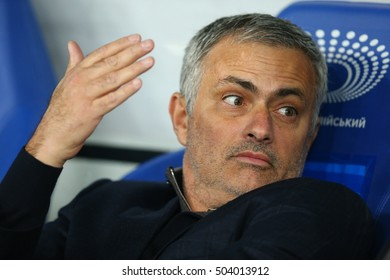 KYIV, UKRAINE - OCTOBER 20, 2015: Jose Mourinho looks with wonder, UEFA Chamions League Group Stage match between Dynamo Kyiv and Chelsea