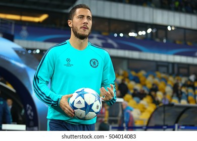KYIV, UKRAINE - OCTOBER 20, 2015: Eden Hazard portrait before warm-up, UEFA Chamions League Group Stage match between Dynamo Kyiv and Chelsea
