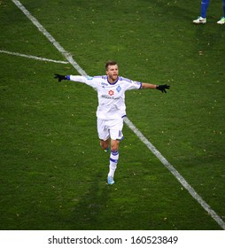 KYIV, UKRAINE - OCTOBER 20: Andriy Yarmolenko of Dynamo Kyiv reacts after scored a goal during Ukrainian Championship game against Arsenal Kyiv on October 20, 2013 in Kyiv, Ukraine