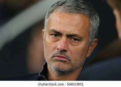 KYIV, UKRAINE - OCTOBER 20: Jose Mourinho looks seriously at the camera, UEFA Chamions League Group Stage match between Dynamo Kyiv and Chelsea