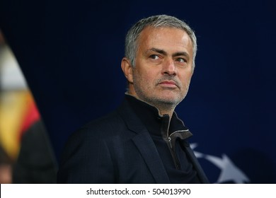 KYIV, UKRAINE - OCTOBER 20: Jose Mourinho looks left with optimistic look, UEFA Chamions League Group Stage match between Dynamo Kyiv and Chelsea