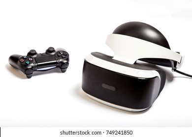 Kyiv, Ukraine. October 21st, 2017: Playstation VR Headset Unit for Virtual Reality Gaming with Sony Playstation 4 Games Console. Helmet virtual reality and joystick on a white background and isolated.