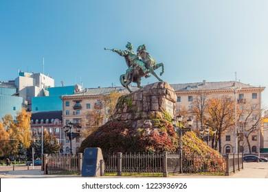 Kyiv, Ukraine - October 22, 2018: Monument to Bohdan Khmelnytskyi in Kyiv