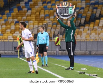 KYIV, UKRAINE - OCTOBER 26, 2017: 4th Referee Jukka Honkanen (FIN) shows an information board with additional time during UEFA Europa League game FC Dynamo Kyiv v Young Boys at NSC Olimpiyskyi stadium