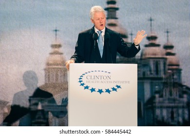"Kyiv. Ukraine - October 3, 2010: 42nd US President Bill Clinton during the ""Battle for the Future"", devoted to the fight against AIDS, at St. Michael's Square in Kyiv"