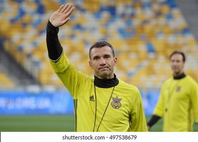 KYIV, UKRAINE - OCTOBER 3, 2016: The Ukraine National Team head coach Andriy Shevchenko gestures FIFA World Cup 2018 Qualifying matches. NSC Olympic stadium, Kyiv