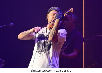 KYIV, UKRAINE – OCTOBER 3, 2018: David Garrett record-breaking German pop and crossover violinist and recording artist during at concert in Kyiv