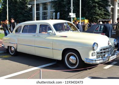 "KYIV, UKRAINE - October 30, 2018: Festival of retro cars ""Old Cars Land 18"". Retro car GAZ ZIM"