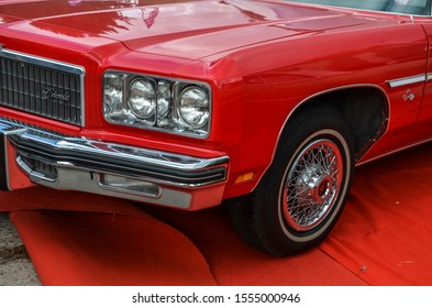 KYIV, UKRAINE OCTOBER 6 2019: old car land festival. Fragment of the famous American cars of the 60-70s full-size Chevrolet Impala 1973 on the exhibition of retro cars