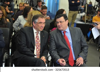 KYIV, UKRAINE - OCTOBER 9, 2015: Alexander Kvitashvili - a Georgian and Ukrainian health manager and government official - during a press conference about polio outbreak in Ukraine