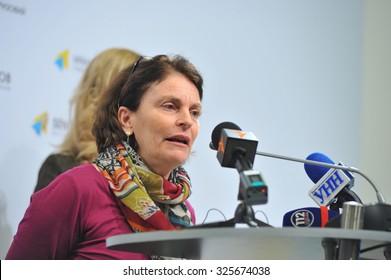 KYIV, UKRAINE - OCTOBER 9, 2015: Giovanna Barberis - UNICEF Representative in Ukraine - speaking about the plans of action to eliminate the polio outbreak in Ukraine