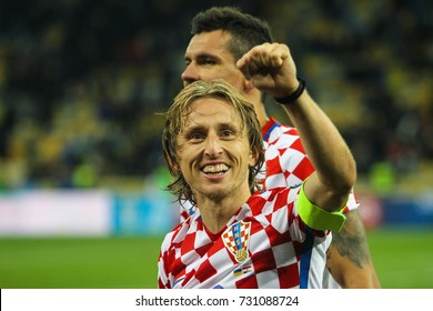 KYIV, UKRAINE - OCTOBER 9, 2017: Midfielder of the national team of Croatia Luka Modric during the match 2018 FIFA World Cup qualification Ukraine - Croatia at the Olympic Stadium