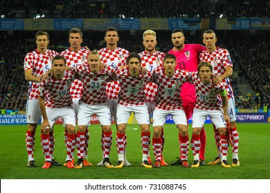KYIV, UKRAINE - OCTOBER 9, 2017: National football team of Croatia during the match 2018 FIFA World Cup qualification Ukraine - Croatia at the Olympic Stadium