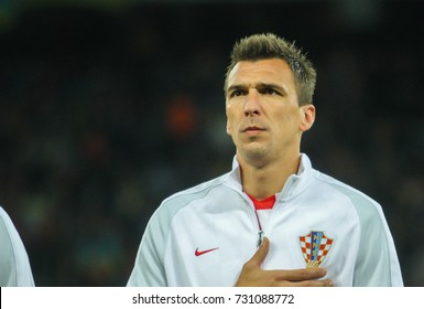 KYIV, UKRAINE - OCTOBER 9, 2017: Striker of the national team of Croatia Mario Mandzukic during the match 2018 FIFA World Cup qualification Ukraine - Croatia at the Olympic Stadium