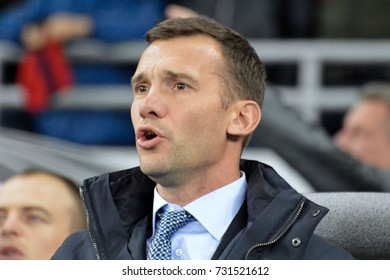 KYIV, UKRAINE - OCTOBER 9, 2017: Head coach of Ukraine National football team Andriy Shevchenko looks on during FIFA World Cup 2018 qualifying game against Croatia