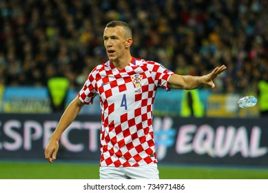 KYIV, UKRAINE - OCTOBER 9, 2017: Croatian professional footballer Ivan Perisic during the match 2018 FIFA World Cup qualification Ukraine - Croatia at the Olympic Stadium