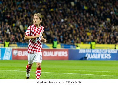 Kyiv, Ukraine - October 9, 2017: Luka Modric portrait during match. FIFA World Cup 2018 Qualifying round Ukraine - Croatia.