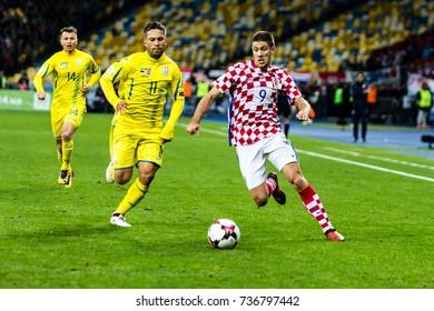 Kyiv, Ukraine - October 9, 2017: Andrej Kramaric in action against Marlos. FIFA World Cup 2018 Qualifying round Ukraine - Croatia.