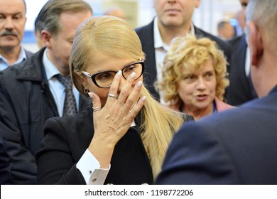 "KYIV, UKRAINE - OCTOBER 9, 2018: Verkhovna Rada deputy from the ""Fatherland"" MP Yulia Tymoshenko during during International Specialized Exhibition ARMS AND SECURITY 2018"