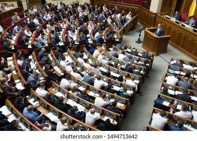 KYIV, UKRAINE - Sep. 03, 2019: President of Ukraine and Leader of European Solidarity party Petro Poroshenko during the session of the Verkhovna Rada of Ukraine of the ninth convocation