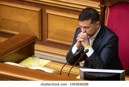 KYIV, UKRAINE - Sep. 03, 2019: President of Ukraine Volodymyr Zelensky during the session of the Verkhovna Rada of Ukraine