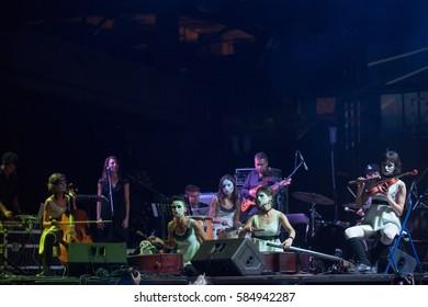 KYIV, UKRAINE - SEP 11: Ukrainian music and theater project freak-cabaret Dakh Daughters band at concert on GogolFEST on September 11, 2014 in Kyiv, Ukraine