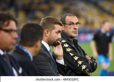 KYIV, UKRAINE - SEPT 13, 2016: Maurizio Sarri coach of SSC Napoli during UEFA Champions League game against FC Dynamo Kyiv at NSC Olympic stadium