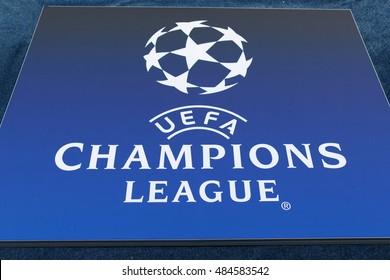 KYIV, UKRAINE - SEPT 13, 2016: Official UEFA Champions League logo during UEFA Champions League game FC Dynamo Kyiv vs SSC Napoli at NSC Olympic stadium