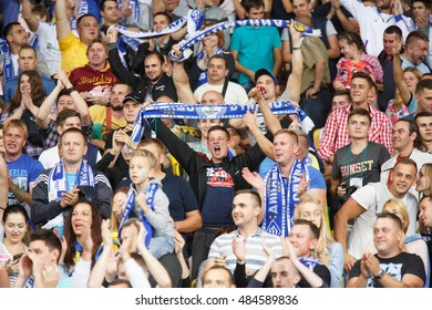 KYIV, UKRAINE - SEPT 13, 2016: FC Dynamo Kiev supporters during UEFA Champions League game against FC Dynamo Kyiv at NSC Olympic stadium