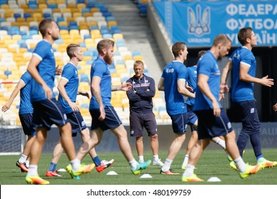 KYIV, UKRAINE - SEPT 4, 2016: Head coach of Iceland National football team Heimir Hallgrimsson on training day before FIFA World Cup 2018 qualifying game against Ukraine at NSC Olympic stadium