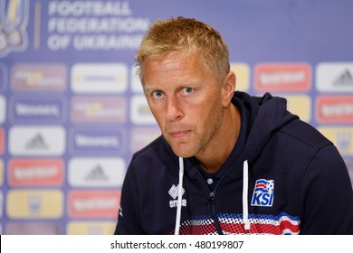 KYIV, UKRAINE - SEPT 4, 2016: Head coach of Iceland National football team Heimir Hallgrimsson on training day before FIFA World Cup 2018 qualifying game against Ukraine at NSC Olympic stadium