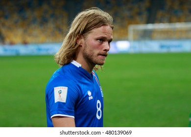 KYIV, UKRAINE - SEPT 5, 2016: Birkir Bjarnason (ISL) during the FIFA World Cup 2018 qualifying game of Ukraine national team against Iceland at NSC Olympic stadium