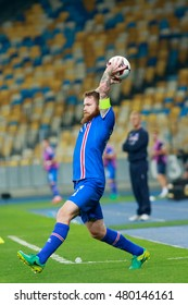 KYIV, UKRAINE - SEPT 5, 2016: Aron Gunnarsson (ISL) during the FIFA World Cup 2018 qualifying game of Ukraine national team against Iceland at NSC Olympic stadium