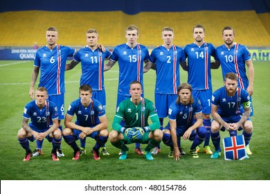 KYIV, UKRAINE - SEPT 5, 2016: Players of Iceland National football team during the FIFA World Cup 2018 qualifying game of Ukraine national team against Iceland at NSC Olympic stadium