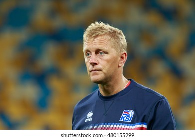 KYIV, UKRAINE - SEPT 5, 2016: Head coach of Iceland National football team Heimir Hallgrimsson during the FIFA World Cup 2018 qualifying game against Ukraine national team at NSC Olympic stadium