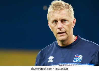 KYIV, UKRAINE - SEPT 5, 2016: Head coach of Iceland National football team Heimir Hallgrimsson during the FIFA World Cup 2018 qualifying game against Ukraine national team at NSC Olympic stadium