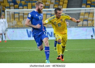 KYIV, UKRAINE - SEPT 5, 2016: Aron Gunnarsson (L) against Konoplyanka during the FIFA World Cup 2018 qualifying game of Ukraine national team against Iceland at NSC Olympic stadium