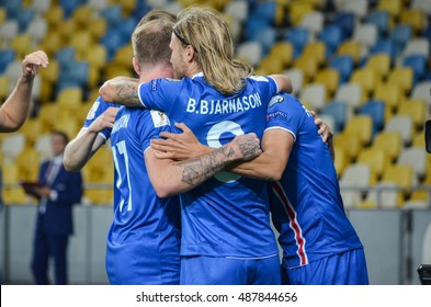 KYIV, UKRAINE - SEPT 5, 2016: The national team of Iceland celebrates the goal scored during the FIFA World Cup 2018 qualifying game of Ukraine against Iceland at NSC Olympic stadium